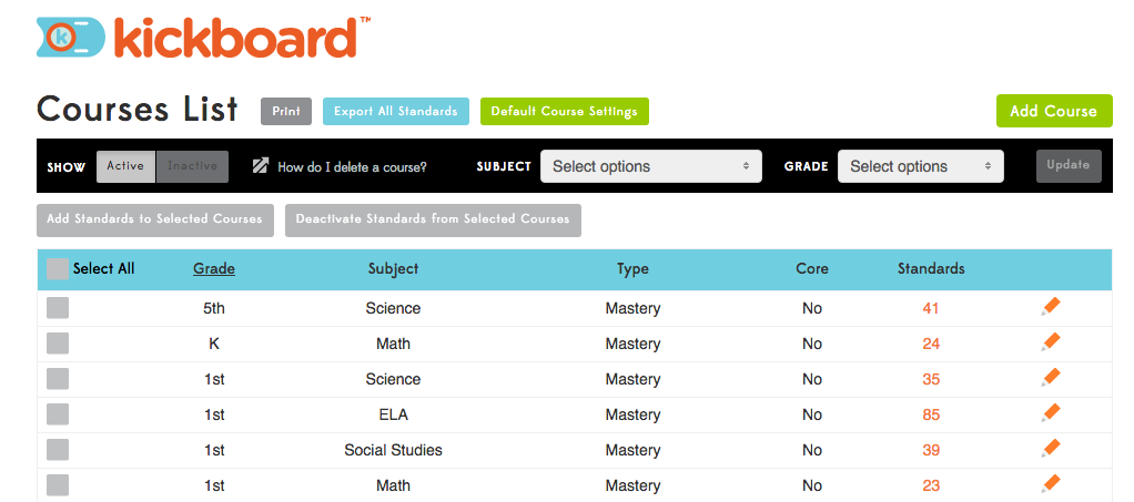Grading Formula: Category Weight by Assessment – Kickboard Support